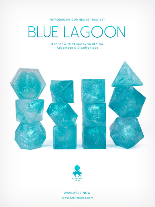 RAW Blue Lagoon 12pc Glitter RPG Dice Set