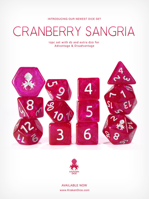 Cranberry Sangria 12pc Glitter RPG Dice Set with Silver Ink