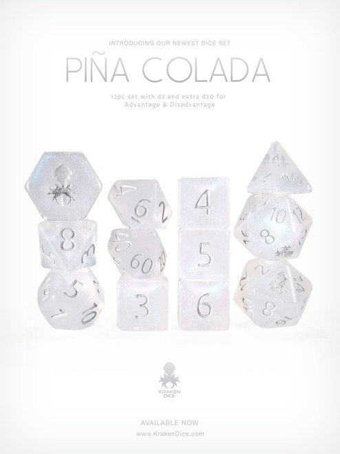 Pina Colada 12pc Glitter RPG Dice Set with Silver Ink