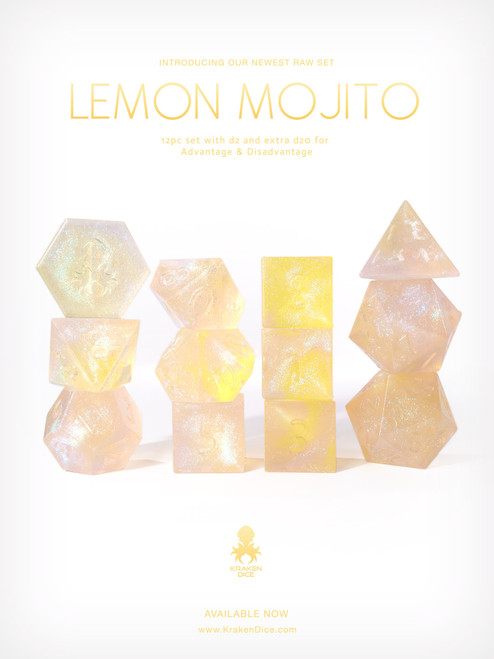 RAW Lemon Mojito 12pc Glitter RPG Dice Set