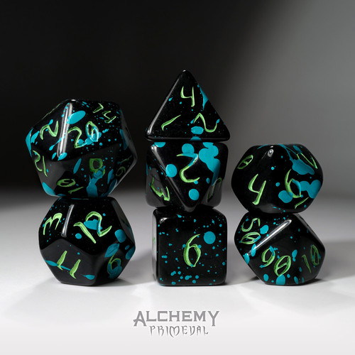 The Midnight Octopus - Primeval: Black and Teal with Green Ink 7pc Custom Font Polyhedral Dice Set
