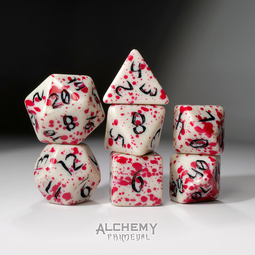 The Red Queen - Primeval: White and Red with Black Ink 7pc Custom Font Polyhedral Dice Set