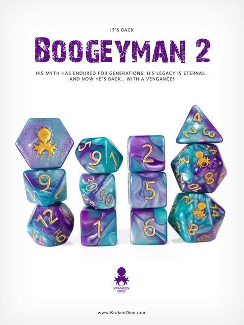 BoogeyMan 2 12pc RPG Dice Set with Gold Ink