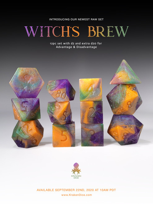 RAW Witches Brew 12pc Glow in the Dark RPG Dice Set