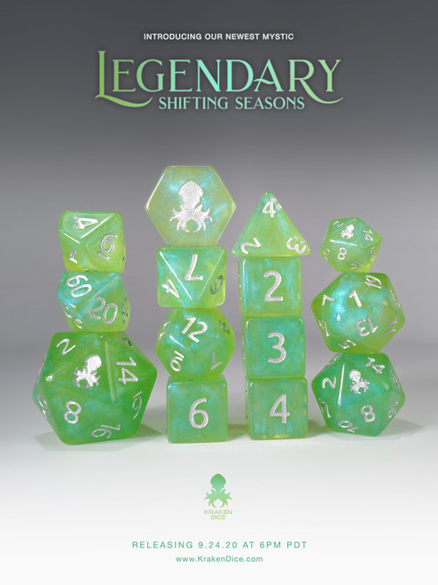 Legendary: Shifting Seasons 12pc Silver Ink Dice Set With Kraken Logo for TTRPGs