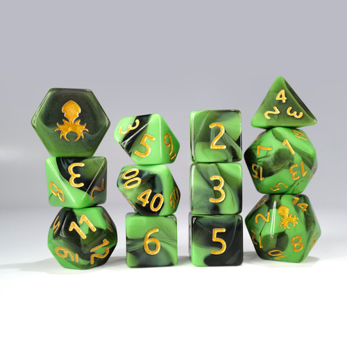 12pc Green and Black Gummi Polyhedral Dice Set