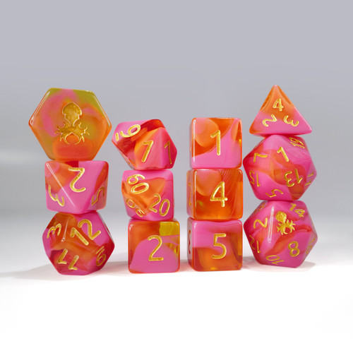 12pc Orange and Pink Gummi Polyhedral Dice Set