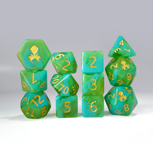 12pc Green and Light Blue Gummi Polyhedral Dice Set