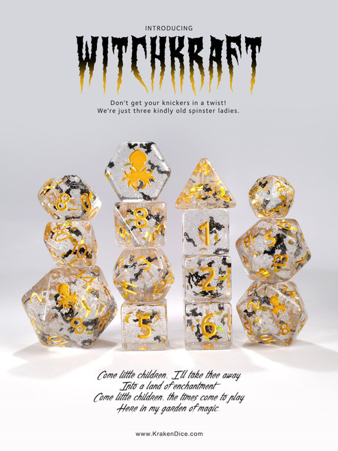 WitchKraft Gold Ink 14pc Limited Edition Dice Set