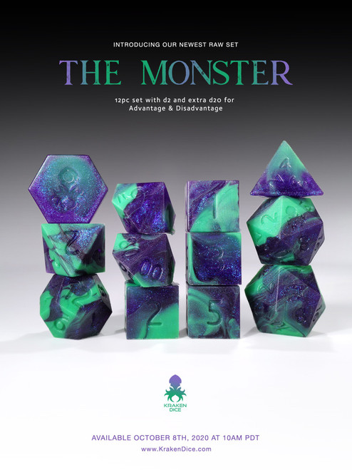 The Monster RAW 12pc RPG Dice Set