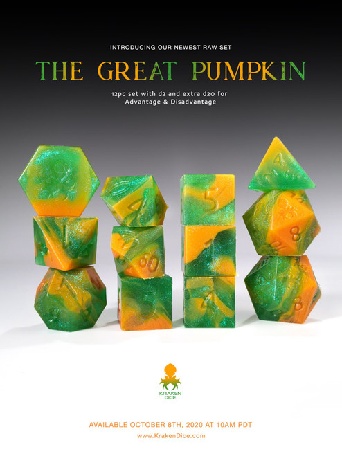 The Great Pumpkin RAW 12pc RPG Dice Set