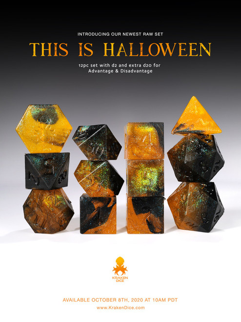 This is Halloween RAW 12pc RPG Dice Set