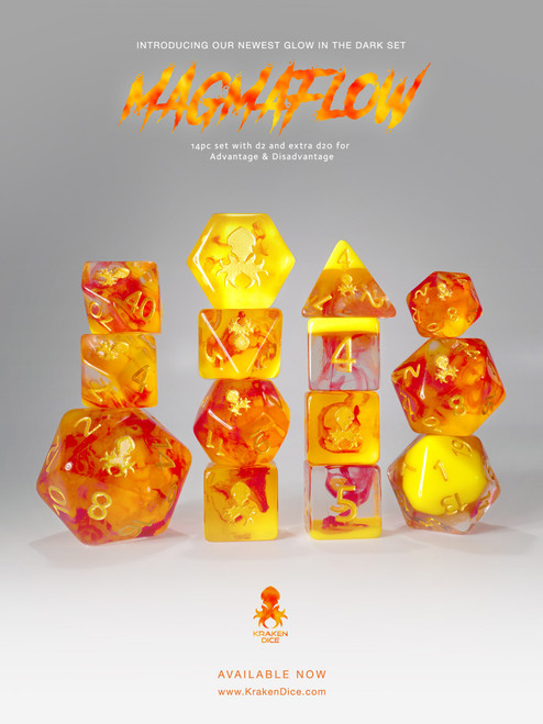 Magma Flow: Lava Lamp 14pc Limited Edition Dice Set