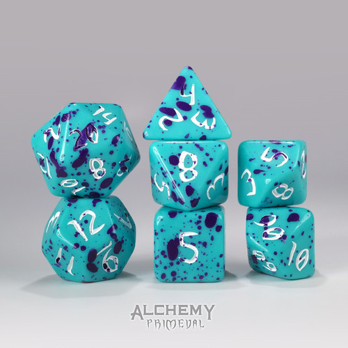 Princess Oblivion - Primeval: Teal and with Purple 7pc Custom Font Polyhedral Dice Set