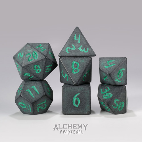 Primeval:Charcoal with Green Ink 7pc Custom Font Polyhedral Dice Set