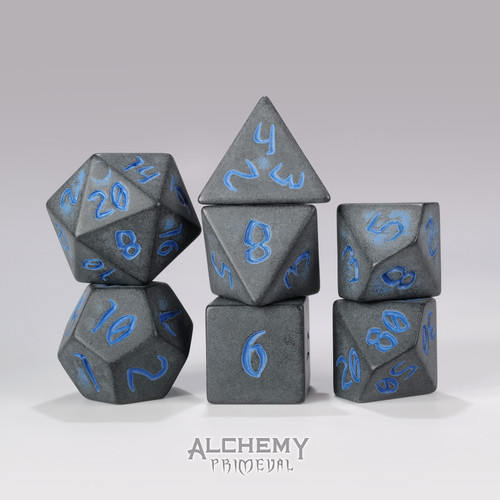 Primeval:Charcoal with Blue Ink 7pc Custom Font Polyhedral Dice Set