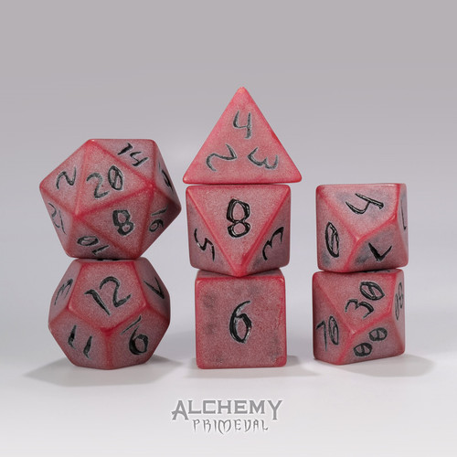 Primeval: Red Clay with Black Ink 7pc Custom Font Polyhedral Dice Set