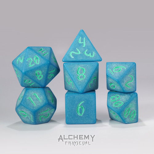 Primeval:Lapis with Green Ink 7pc Custom Font Polyhedral Dice Set