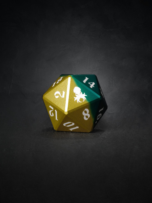 Vulcan: Sylvan Knight 30mm Green and Yellow Precision Aluminum Single D20