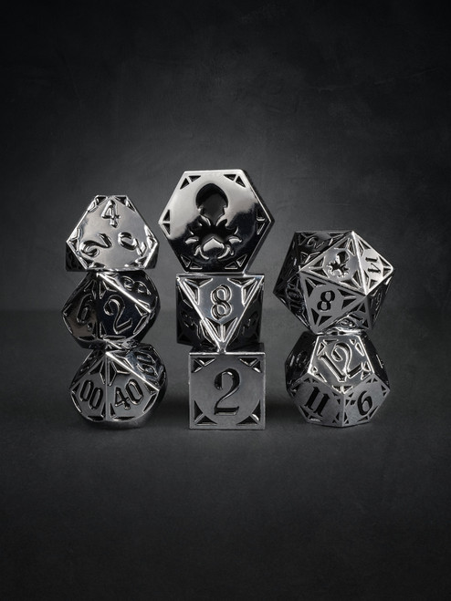 Full Metal Alchesmith 8pc Black and Silver TTRPG Dice Set