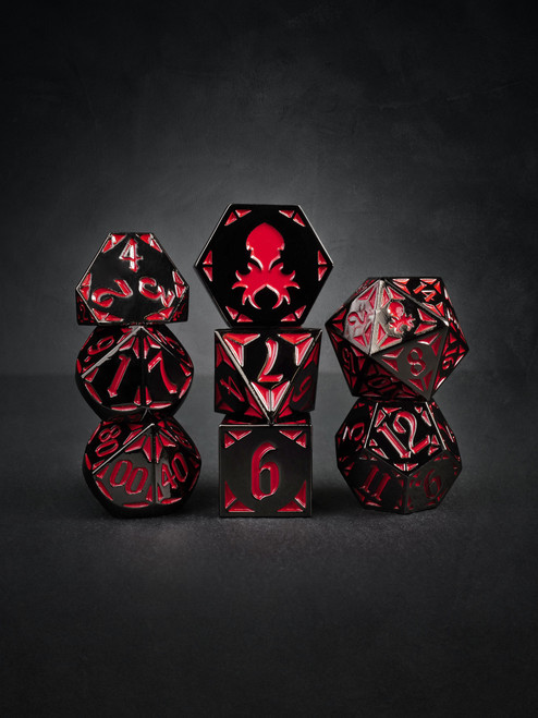Prince's Dark Rite  8pc Black and Red TTRPG Dice Set