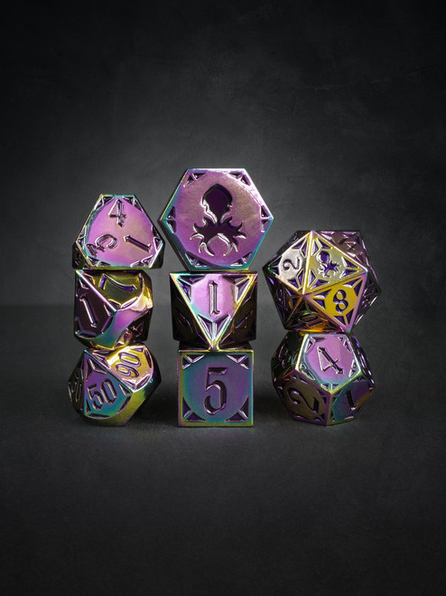 Fullmetal Gothik Forge 8pc Purple Enamel TTRPG Dice Set
