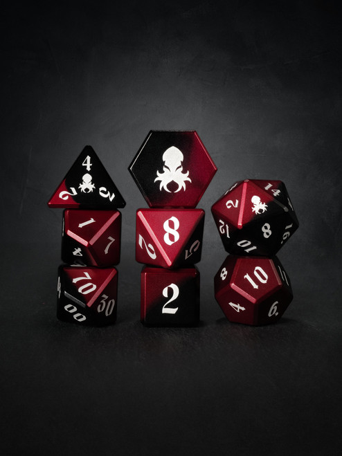 Vulcan: Blood Knight 8pc Black and Red Precision Aluminum Dice Set