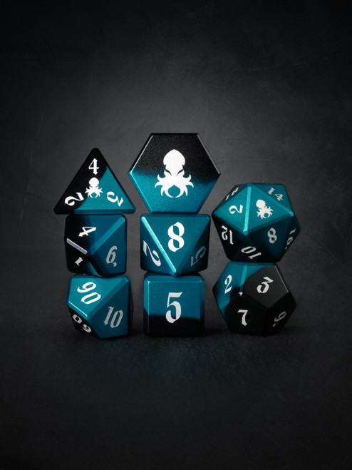 Vulcan: Azure Knight 8pc Black and Blue Precision Aluminum TTRPG Dice Set