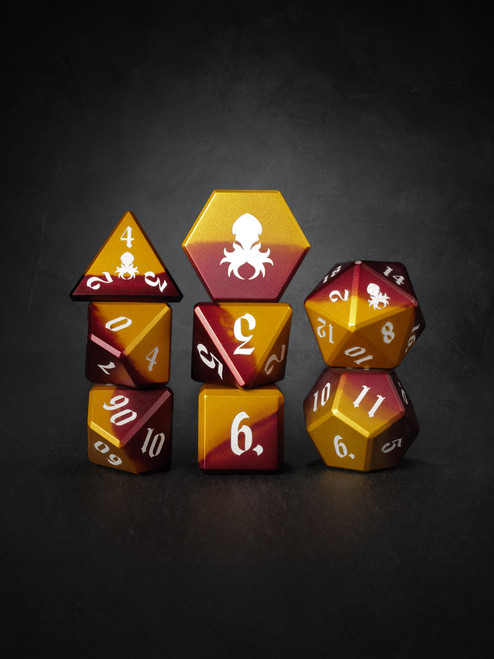 Vulcan: Rust Knight 8pc Orange and Red Precision Aluminum TTRPG Dice Set
