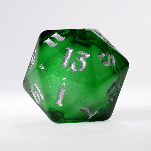 Dark Green Liquid Core Single D20 with Silver Ink