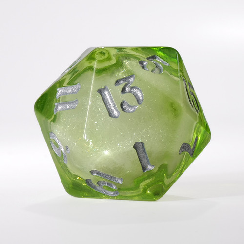 Light Green Liquid Core Single D20 with Silver Ink