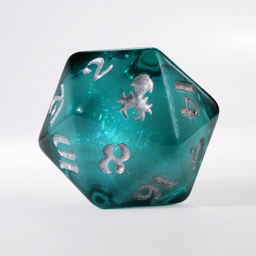 Teal Liquid Core Single D20 with Silver Ink