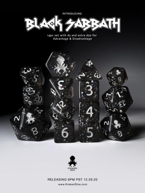 Black Sabbath  Hologlitter Dice Set with Silver Ink