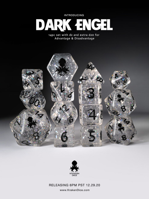 Dark Engel Hologlitter Dice Set with Silver Ink