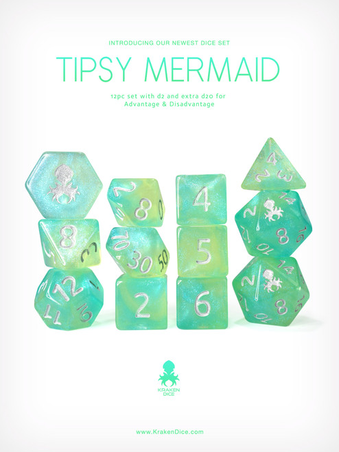 Tipsy Mermaid 12pc Glitter RPG Dice Set