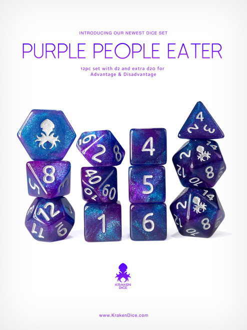 Purple People Eater 12pc Glitter RPG Dice Set