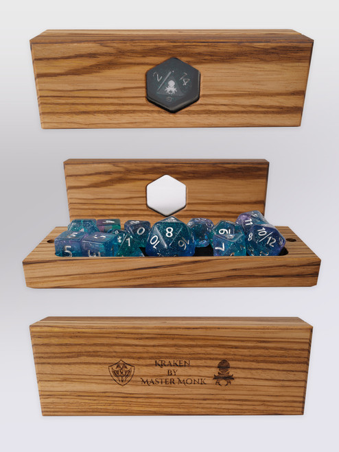 Kraken's Oracle Zebrawood Dice Vault by Master Monk