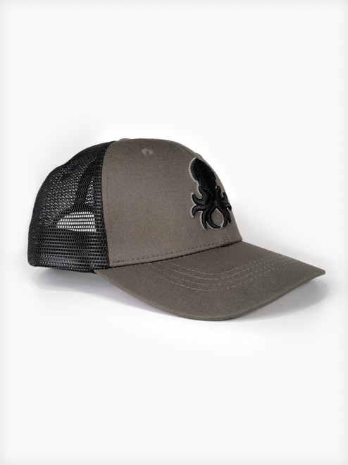Kraken Logo Grey Silhouette Snapback Trucker Cap
