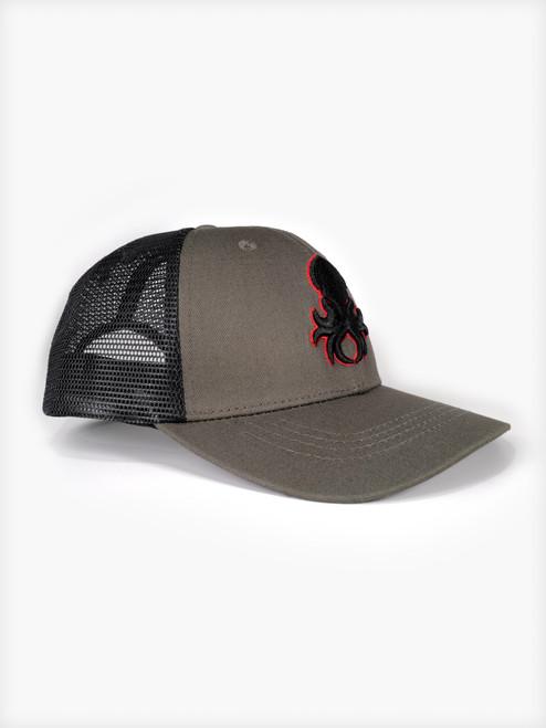 Kraken Logo Red Silhouette Snapback Trucker Cap