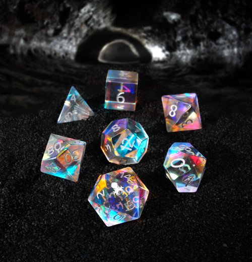 Dichroic Glass Semi-precious Gemstone Dice Set