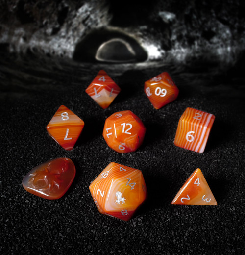 Natural Red Stripe Agate Semi-Precious 8 pc Dice Set with Kraken Logo for RPGs