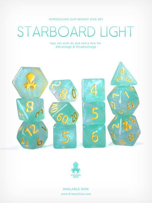 Starboard Light 12pc Glitter RPG Dice Set