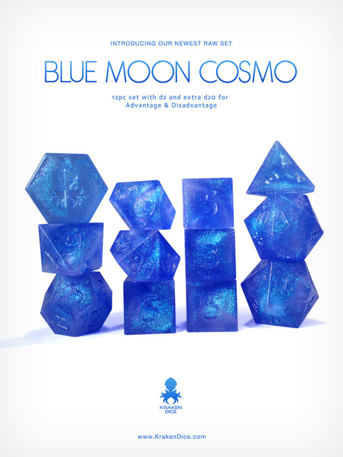 Kraken's RAW Blue Moon Cosmo 12pc Polyhedral Dice Set