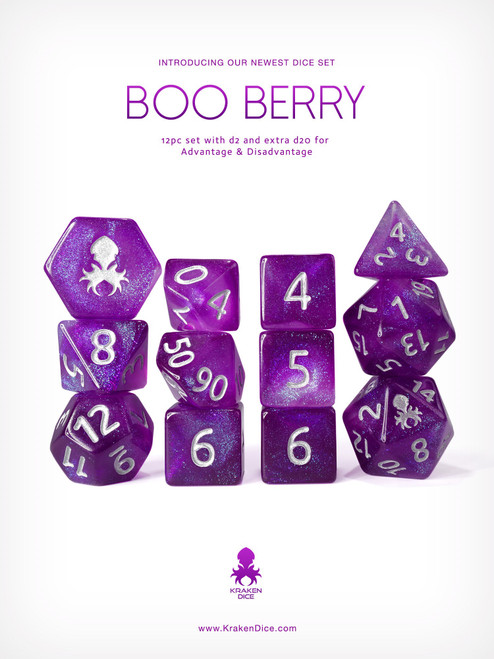 Kraken's Boo Berry 12pc Polyhedral Dice Set