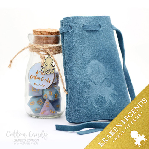 Cotton Candy 10pc Dice Gift Set With Suede Dice Bag