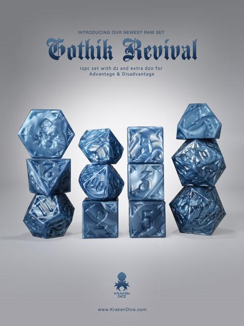RAW Blue Gothik Revival  RPG 12pc Dice Set