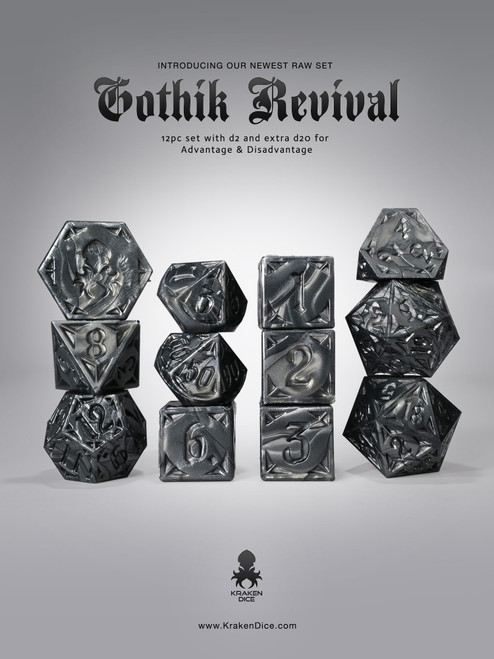 RAW Black Gothik Revival RPG 12pc Dice Set