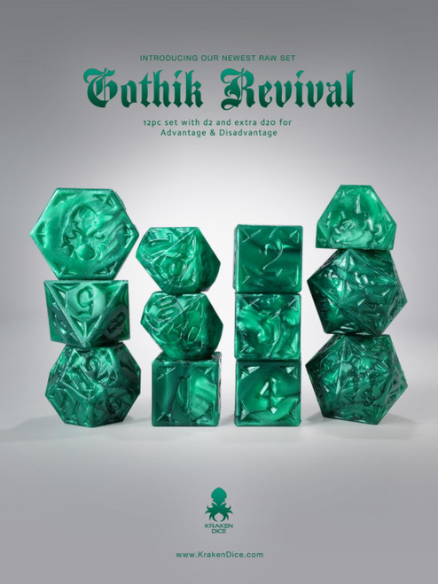 RAW Dark Green Gothik Revival  RPG 12pc Dice Set