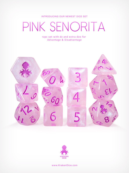 Pink Senorita 12pc Glitter RPG Dice Set