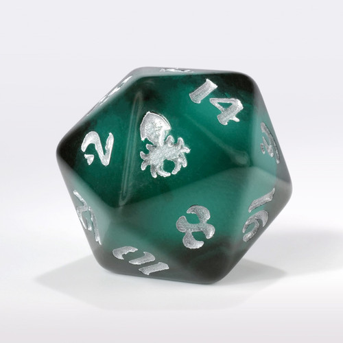Dark Teal Liquid Core Single D20 with Silver Ink